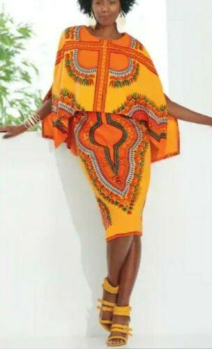 Ashro Gold Orange Ethnic African Pride Sabra Cape Dress Size 12 14 16 18W PLUS