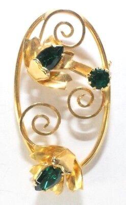 Brooch Pin - Flower Bouquet Oval Swirl - Green Crystal Rhinestones - Gold Tone