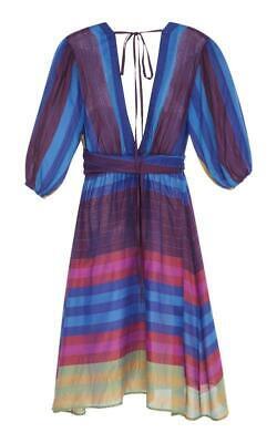 A Peace Treaty ~ Capira Stripe Dress ~ L ~ NWT ~ Rainbow Stripe Silk ~ $396