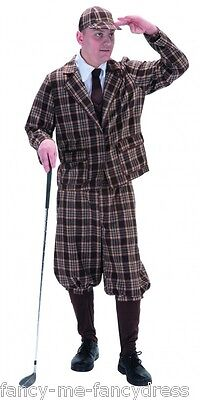 Golf Costume (Mens 1920s 1930s Golfer Sports Stag Do Pub Golf Fancy Dress Costume Outfit)