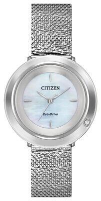 Citizen Eco-Drive Women's Ambulina Silver-Tone Mesh Band 32mm Watch EM0640-58D