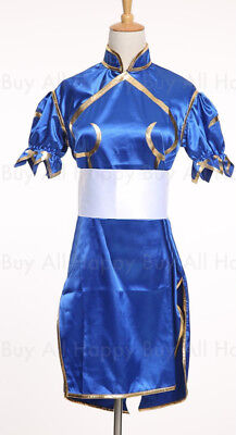 Chun Li Street Fighter Blue Dress Cosplay Costume Halloween Standard Size  (Chun Li Halloween)