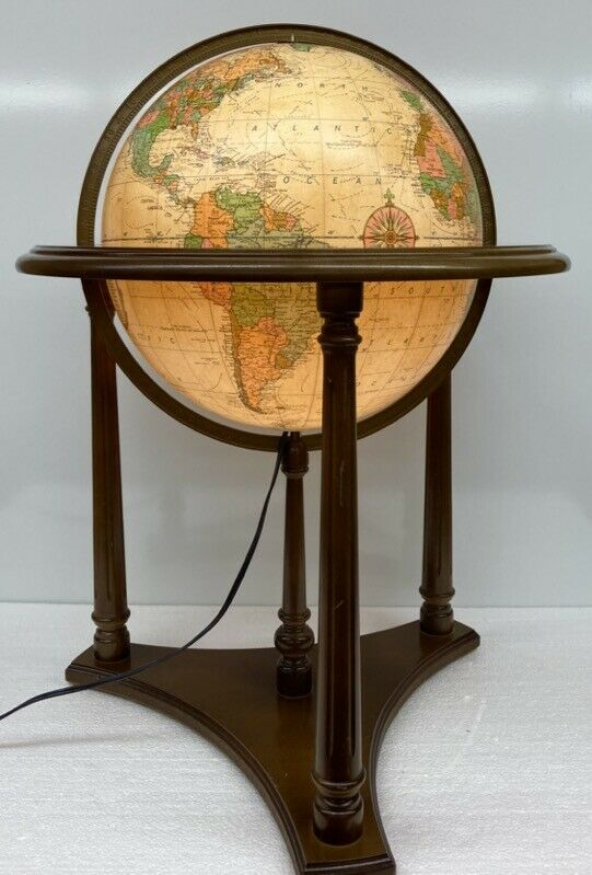 """Vintage 16"""" Replogle Heirloom Lighted World Globe with Floor Chair-Side Stand"""