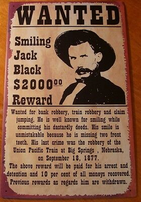 OLD WEST WANTED SMILING BLACK JACK SIGN Country Western Saloon Bar Decor