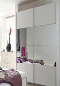 IKEA PAX LARGE TALL WARDROBE WHITE 150cmx236x58cm with sliding doors MEHAMN/AULI Mirror glass/white