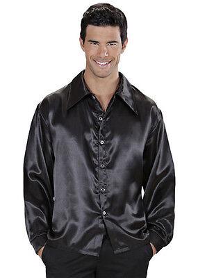 Mens 70s Disco Costume Black Satin Shirt Fancy Dress Saturday Fever Outfit - Disco Outfit Men
