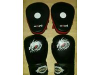 Boxing kickboxing gloves and pads great for sport