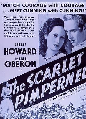 THE SCARLET PIMPERNEL Movie POSTER 27x40 B Leslie Howard Joan Gardner Merle
