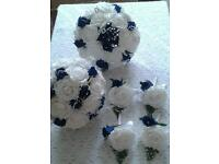 White & royal blue wedding bouquet with pearl jip