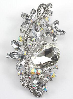 Clear Dazzling Austrian Rhinestone Crystal Bridal Wedding Brooch Pin
