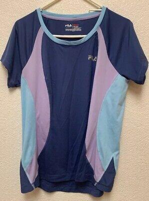 FILA Sport Ladies Womens Live In Motion BluepurpleT-shirt Athletic Top Size - L