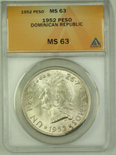 1952 Dominican Republic Silver 1 Peso ANACS MS 63