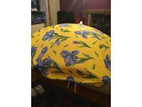 Patio Garden Beach Parasol Sunshade Sun Umbrella,Floral yellow/blue,Cotton, New