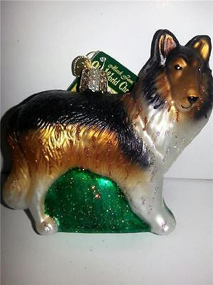 DARK BROWN COLLIE OLD WORLD CHRISTMAS GLASS DOG BREED ORNAMENT NWT 12204