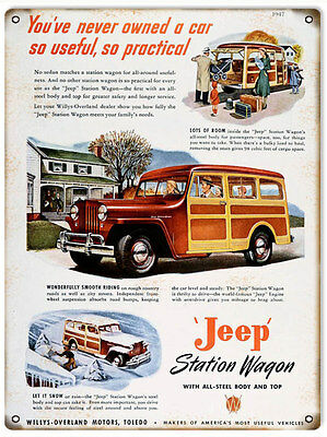 Reproduction Classic Jeep Station Wagon Sign. 9x12
