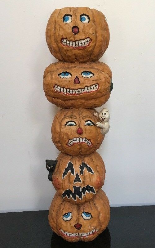 "Vintage Halloween 24.5"" Tall Pumpkin Stack Resin Bat Cat Ghost 6lbs VG!!"