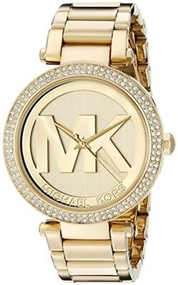Michael Kors Women's MK5784 Parker Gold Tone With Mk logo with Crystal Bezel