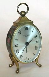 Smica Sheffield Vintage Swiss Made Hand Painted Travel Alarm Table Clock    D2