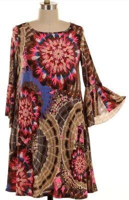 PLUS SIZE CANDY PINK MEDALLION FLORAL BELL SHIFT DRESS USA POCKETS 4XL 5XL 4X -