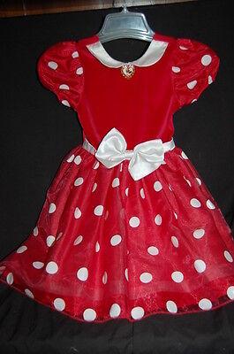 Disney Store Minnie Mouse Dress  Original  Halloween Costume  Sz 6 6X  Red White
