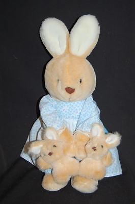 "Tan Mama Bunny Rabbit  2 Babies In Hand Apron Blue Dress Plush 16"" Vtg Lovey"