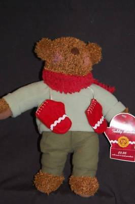 "Hallmark Teddy Mittens Bear Brown Red Scarf Shirt Pants NWT Plush 13"" Toy Lovey"