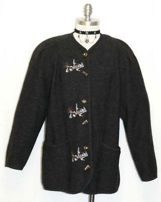 "BOILED WOOL BLACK SWEATER German Woman EMBROIDERED CHURCH Jacket B44"" 14 L"