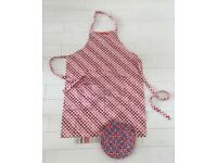 Emma Bridgewater set of pink red heart apron, Union Jack picnic plate and 5 pencils - all limited