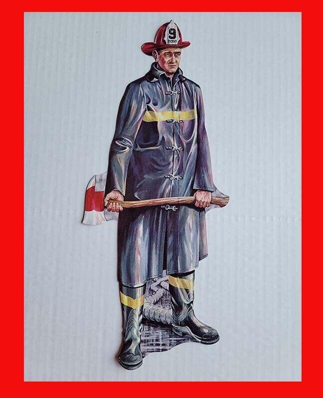 Vintage 1964 Eureka Die-Cut Fireman Firefighter Fire Man Cardboard Color Display