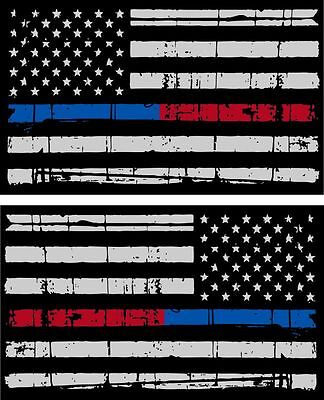 "Tattered Police & Fire Thin Blue/Red Line American Flag Decals x 2 - 3"" x 1.75"""