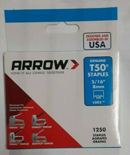 "Arrow Fastener 505 50516 T50 5/16"" Staples 1250/PK"