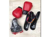 Kick boxing gloves, foot pads and crotch guard