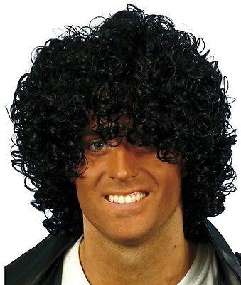 80s Jahre 1980s Nass Look Afro Kostüm Perücke JACKSON MICHAEL schwarz (Michael Jackson Perücke Kostüm)