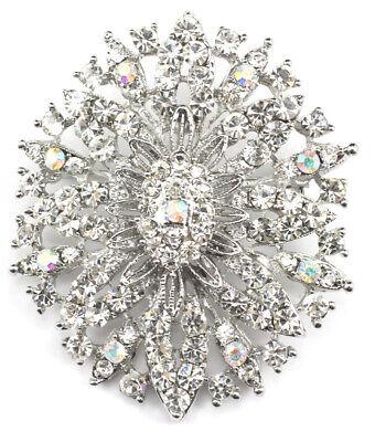 Clear Austrian Crystals Pin (Clear Fine Austrian Rhinestone Crystal Fascinating Snowflake Wedding Brooch)
