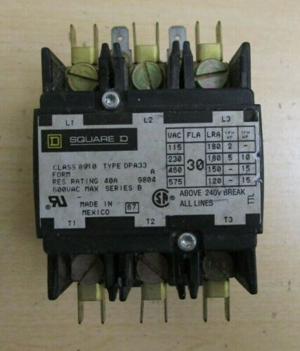 Square D  Class 8910 Type DPA33 Form A  Contactor