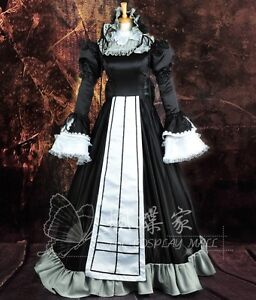 Black-White-Gothic-Victorian-Satin-Ruffled-Long-Lolita-Dress-Cosplay-Costume-259