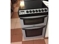 55cm ceramic hob double oven electric cooker