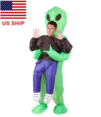 Adult Inflatable Monster Scary Green Alien Funny Halloween Cosplay Costume US! - Green Monster Halloween Costume