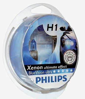 2 AMPOULES H1 PHILIPS BLUE ULTRA XENON EFFECT ANGEL EYES DEVIL EYES 12V 55W
