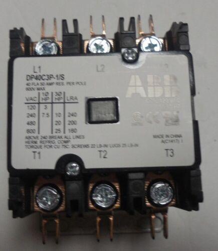 NEW ABB DP40C3P-1/S DEFINITE PURPOSE CONTRACTOR 40 FLA 50 AMP 600 V MAX 3 POLE