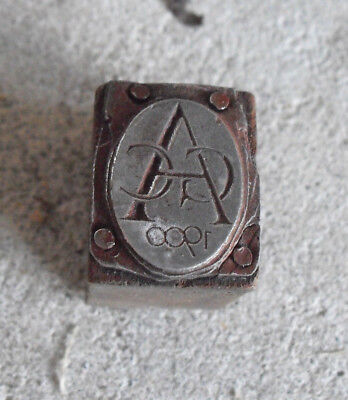 Vintage 1900 Acc Monogram Wood Metal Letterpress Print Block Stamp