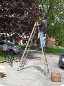 9' Foot 11 inches Wooden Ladder