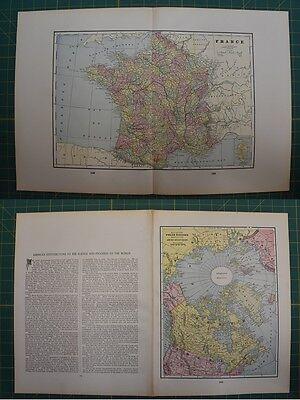 France Polar Regions Vintage Original 1895 Werner Company World Atlas Map Lot