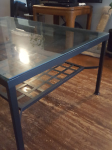 Glass-top Coffee Table with Lattice Lower Shelf - IKEA