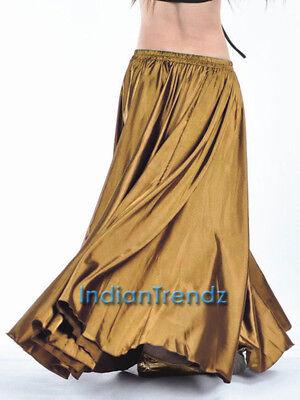 Hem Circle Skirt (Gold Satin Skirt Full Circle Belly Dance 9 Yard Hem Maxi 36