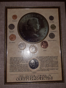 Heritage Collectibles Framed Pre-Decimal Coinage of Queen Elizab
