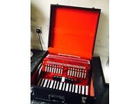 Beautiful Stephanelli 96 Bass Accordian in Red Pearl and Mint Condition