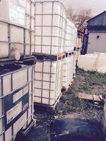 1000 LT water totes wooden skid bottoms