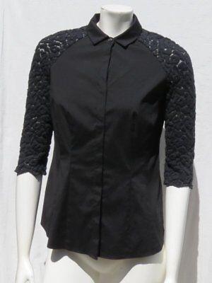 Lafayette Baumwolle Bluse (Lafayette 148 Schwarz Stretch Baumwolle ¾ Spitzen- Strick Ärmel BLUSE Hemd Top)