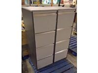 2x matching wooden 4 drawer filing cabinets